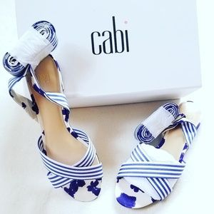 CABI NAUTICAL STRIPE FLORAL ANKLE WRAP SANDALS